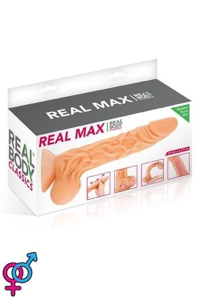 Фаллоимитатор с подвижной крайней плотью Real Body Real Max, 22х4,3 см