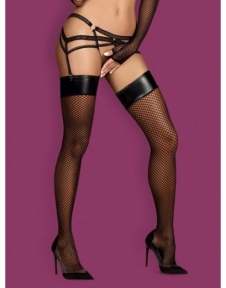 Чулки сетка Obsessive Darkie stockings black L/XL (410359)