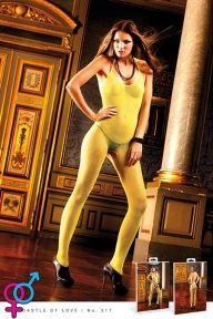 Комбинезон — сетка Yellow Neckholder Bodystocking (B317-YELLOW-OS)
