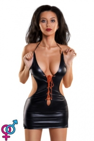 ПлатьеGlossyизматериалаWetlookскраснойшнуровкой,черный (561100955014-M)