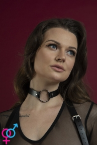 Чокер с кольцом Feral Feelings - O-Ring Collar черный, натуральная кожа (SO3424)