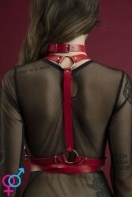 Портупея на тело Feral Feelings - Harness, натуральная кожа, цвет красный (SO3440)