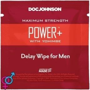 Пролонгирующая салфетка Doc Johnson Power+ Delay Wipe For Men с экстрактом йохимбе (SO3488)