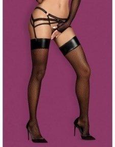 Чулки сетка Obsessive Darkie stockings black S/M (410294)