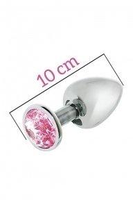 Металлическая анальная пробка с розовым кристаллом MAI Attraction Toys №74, 10х4см (SO4636)