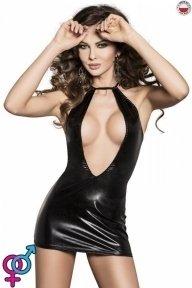 Платье под латекс с глубоким декольте FEMI DRESS black XXL/XXXL - Passion Exclusive (PS26103)