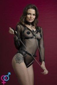 Поводок Feral Feelings - Chain Leash черный, металлическая цепь с кожаной петлей и карабином (SO3433)