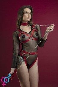 Поводок Feral Feelings - Chain Leash красный, металлическая цепь с кожаной петлей и карабином (SO3434)
