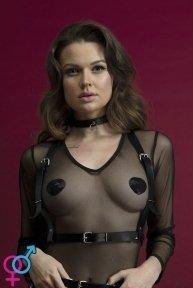 Портупея на грудь Feral Feelings - Harness Top, натуральная кожа, цвет черный (SO3442)