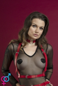 Портупея на грудь Feral Feelings - Harness Top, натуральная кожа, цвет красный (SO3443)
