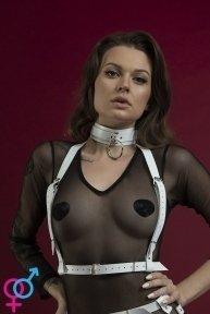 Портупея на грудь Feral Feelings - Harness Top, натуральная кожа, цвет белый (SO3444)