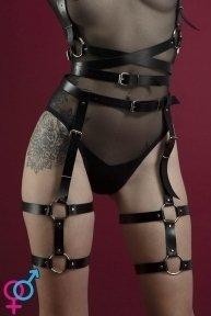 Гартеры Feral Feelings - Garter, натуральная кожа, цвет черный (SO3448)