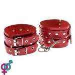 Оковы Leather Double Fix Leg Cuffs, red (280191)